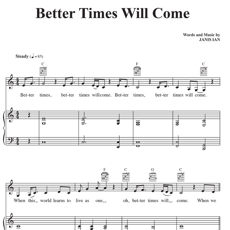 Better Times Will Come by Janis Ian - Sheet Music Vocals, Piano, chords in C