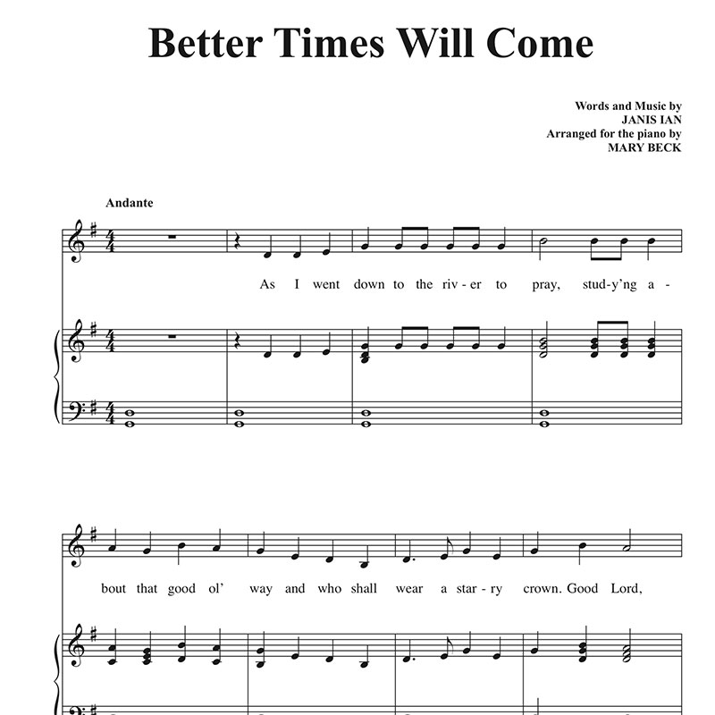 Better Times Will Come by Janis Ian Sheet Music by Mary Beck