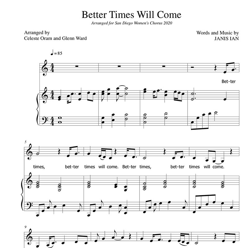 Better Times Will Come by Janis Ian Sheet Music by San Diego Women's Chorus
