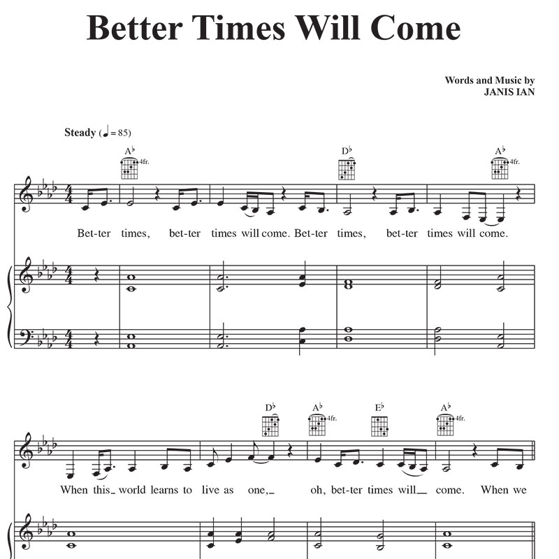 Better Times Will Come by Janis Ian - Sheet Music Vocals, Piano, chords in AB