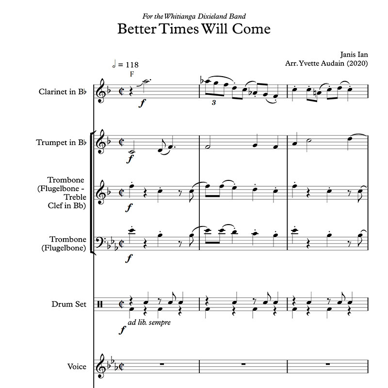 Better Time Will Come by Janis Ian Whitianga Dixieland Band Sheet Music