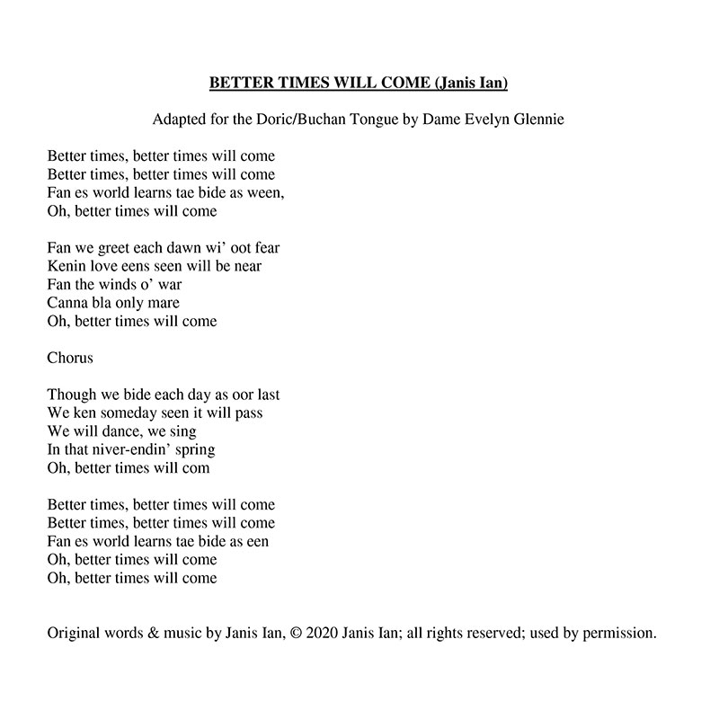 Better Times Will Come by Janis Ian - Doric/Buchan Tongue Lyrics by Dame Evelyn Glennie