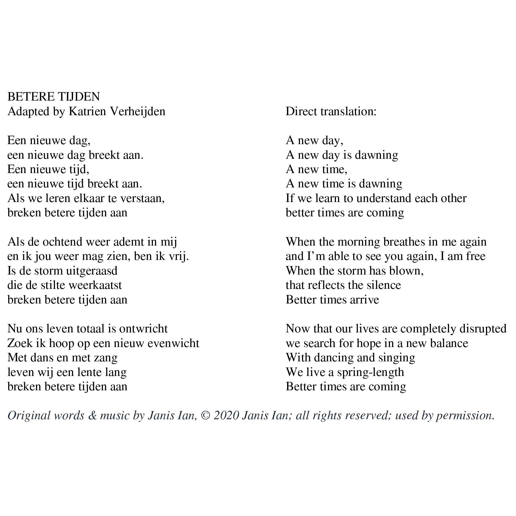 Better Times Will Come by Janis Ian - Dutch lyrics by Katrien Verheijden