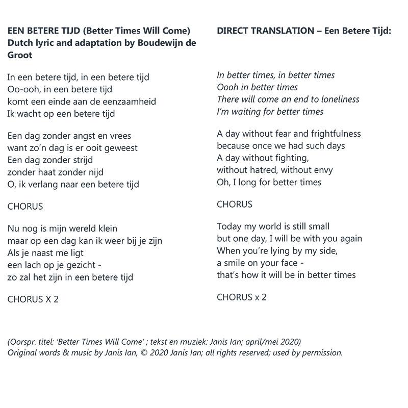 Better Times Will Come by Janis Ian - Dutch lyrics by Boudewijn de Groot
