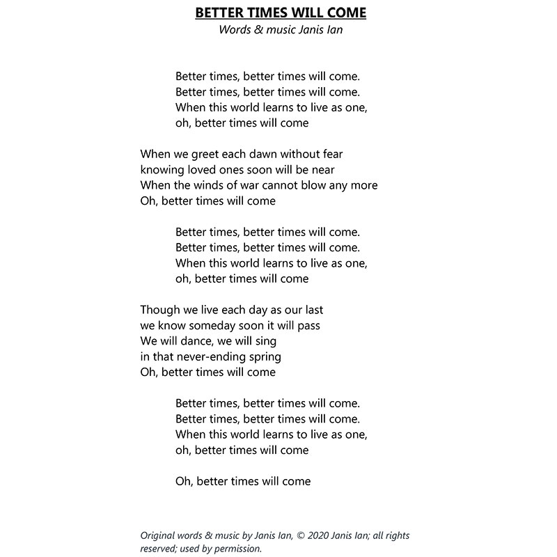 Better Times Will Come by Janis Ian