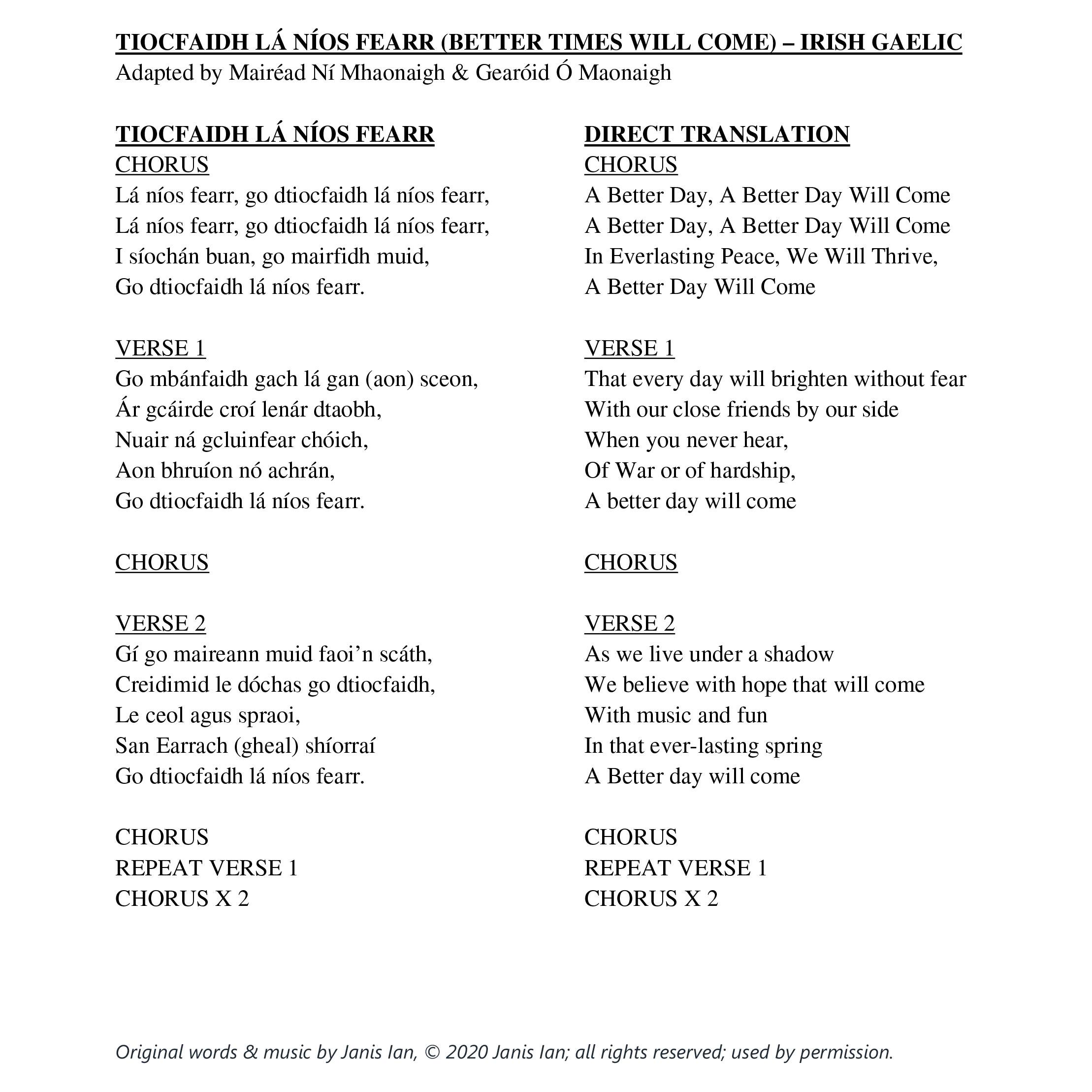 Better Times Will Come by Janis Ian - Irish Gaelic lyrics by  Adapted by Mairéad Ní Mhaonaigh & Gearóid Ó Maonaigh