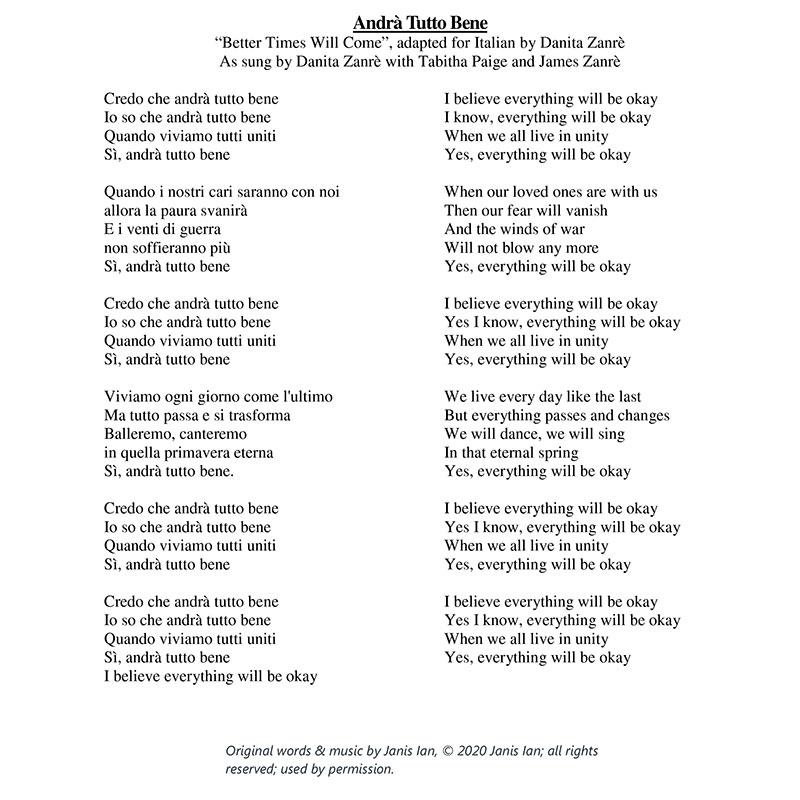 Better Times Will Come by Janis Ian - Italian Lyrics by Danita Zanrè