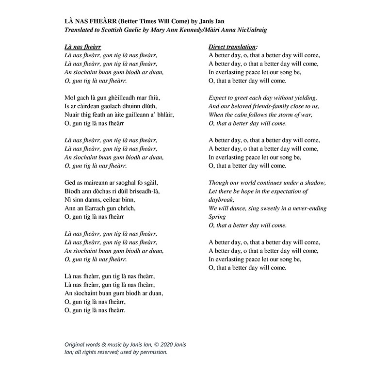 Better Times Will Come by Janis Ian - Scottish Gaelic Lyrics by Mary Ann Kennedy/Màiri Anna NicUalraig