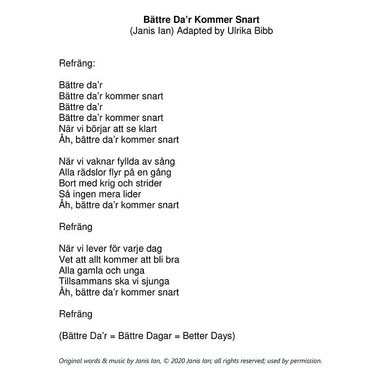 Better Times Will Come by Janis Ian - Swedish Lyrics by Ulrika Bibb